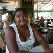 lauren happy with cafe du monde  New Orleans