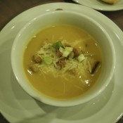 Veg Soup Garnished with Bacon