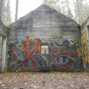 Artwork on an old mining house along the hiking trail