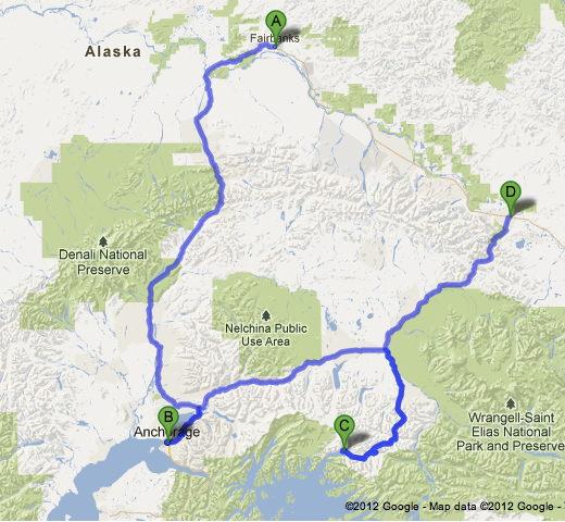 Road Trip Plan Fairbanks Anchorage Valdez Tok Alaska - Where is fairbanks