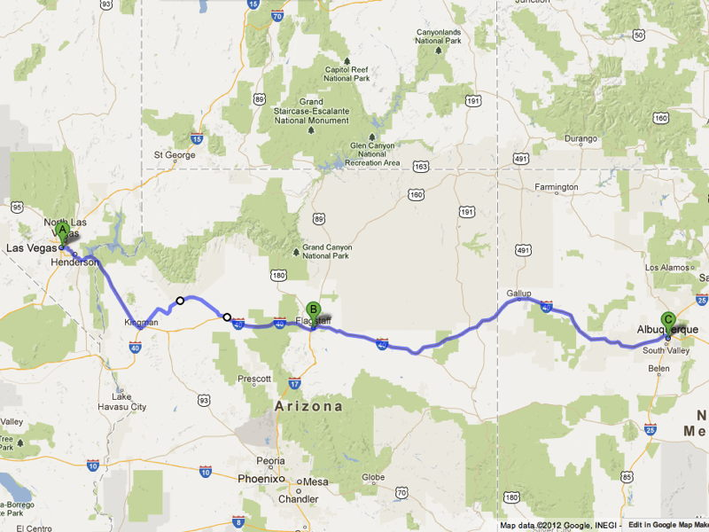 Road Trip Route Grand Canyon Vegas Flagstaff Albuquerque - Las vegas grand canyon map
