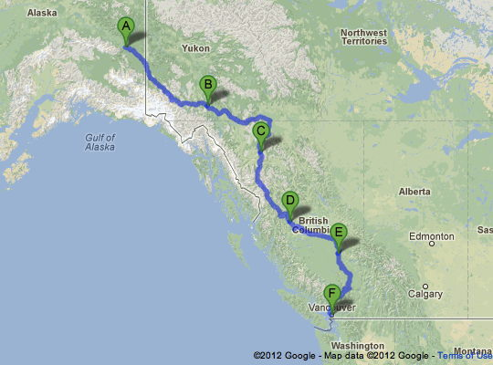 Road Trip Route Alaska to Vancouver Cassiar Highway Travel