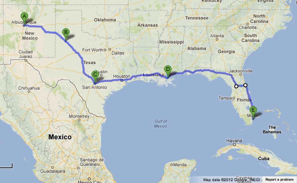 Road Trip Albuquerque San Antonio New Orleans Miami