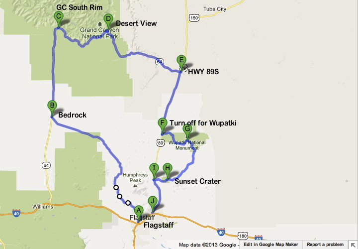 Road Trip Planner for Visiting the Grand Canyon South Rim – Grand Canyon Tourist Map