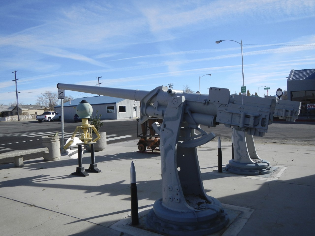 Naval Ship Guns along the road