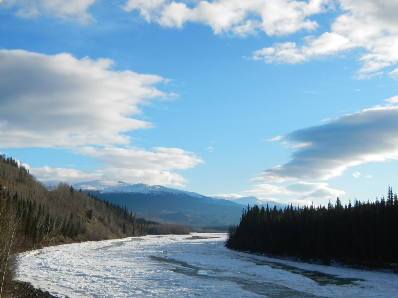 Semi Frozen River in the Western Canadian Rockies