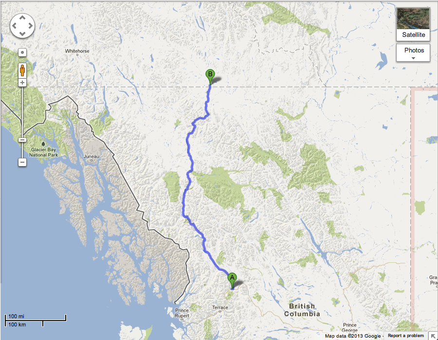 Map of the Cassiar Highway