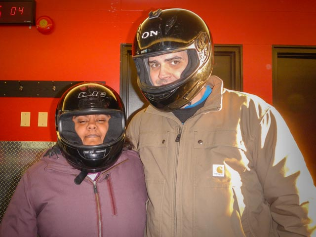Lauren and I ready for Olympic Bobsledding