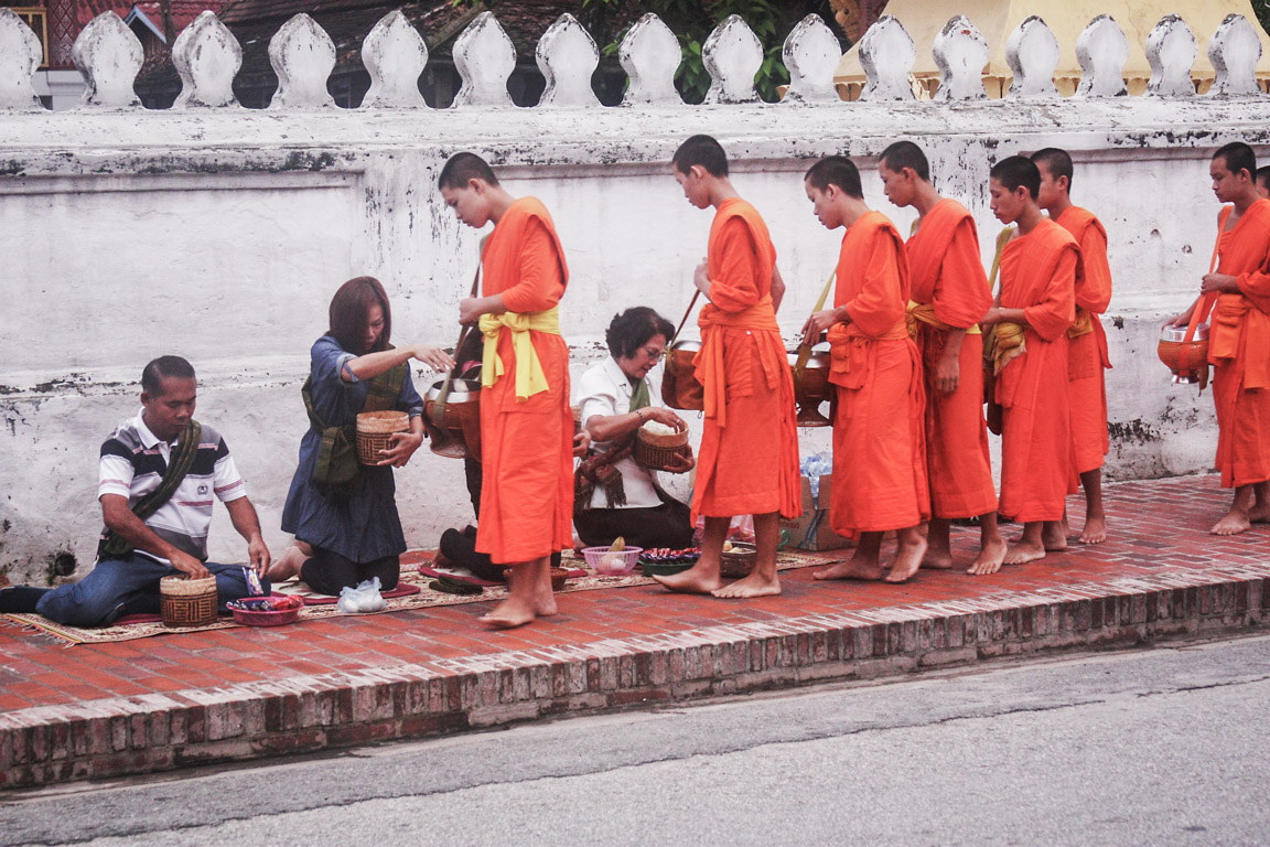 The Monk Procession in Luang Prabang-1