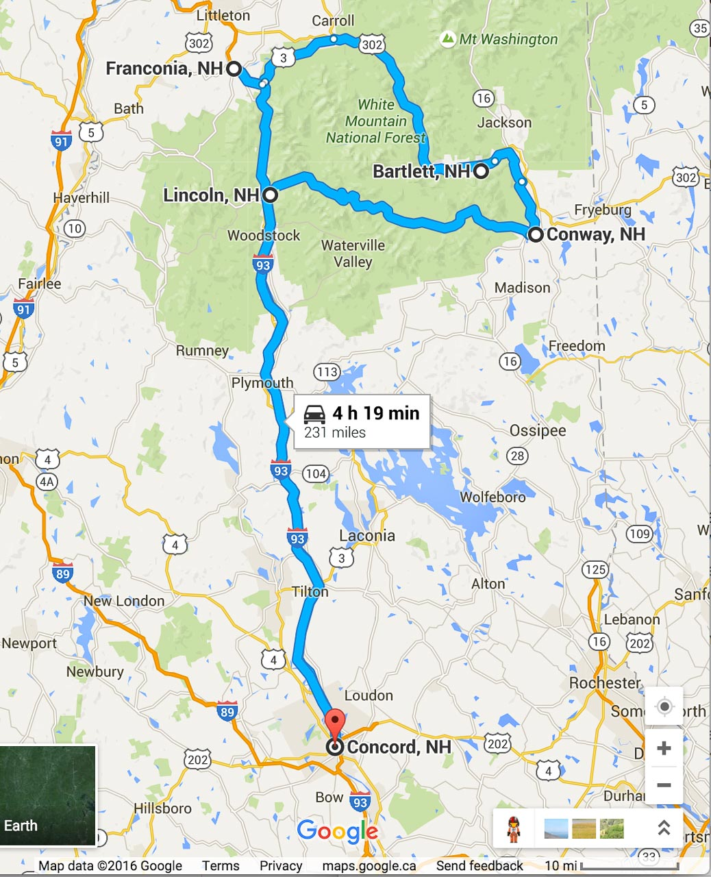Road Trip Planner For The White Mountain National Forest
