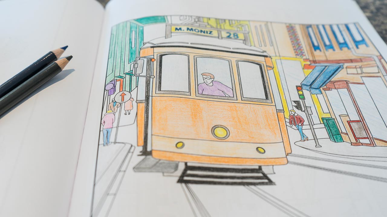 Tram 28 Lisbon Adult Coloring Book